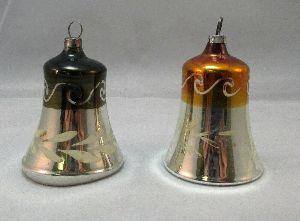 Vintage hand painted glass bell christmas ornaments
