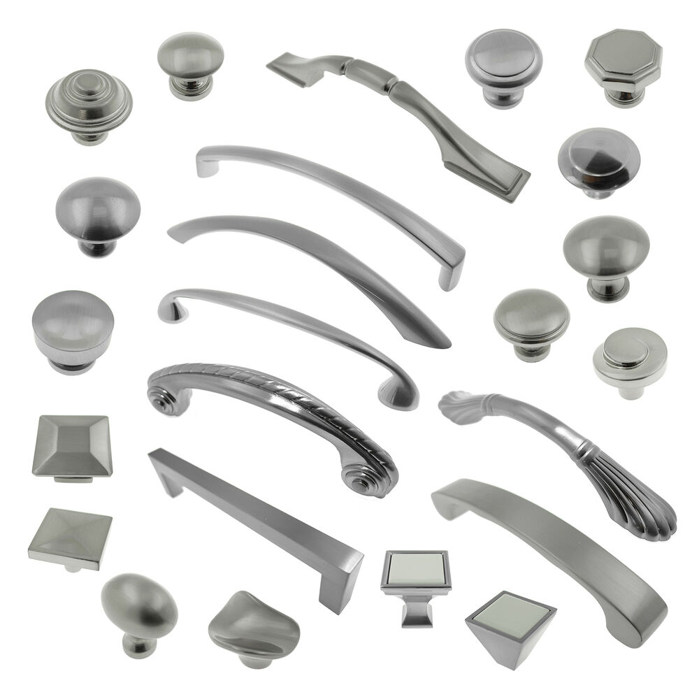 Brushed Satin Nickel Knobs Pulls Kitchen Cabinet Handles Hardware ...