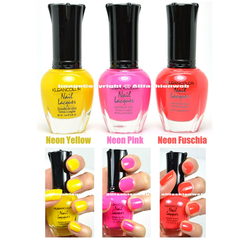 Bright Pink Nail Polish Colors: 3 KLEANCOLOR NAIL POLISH NEON COLOR YELLOW, PINK, FUSCHIA