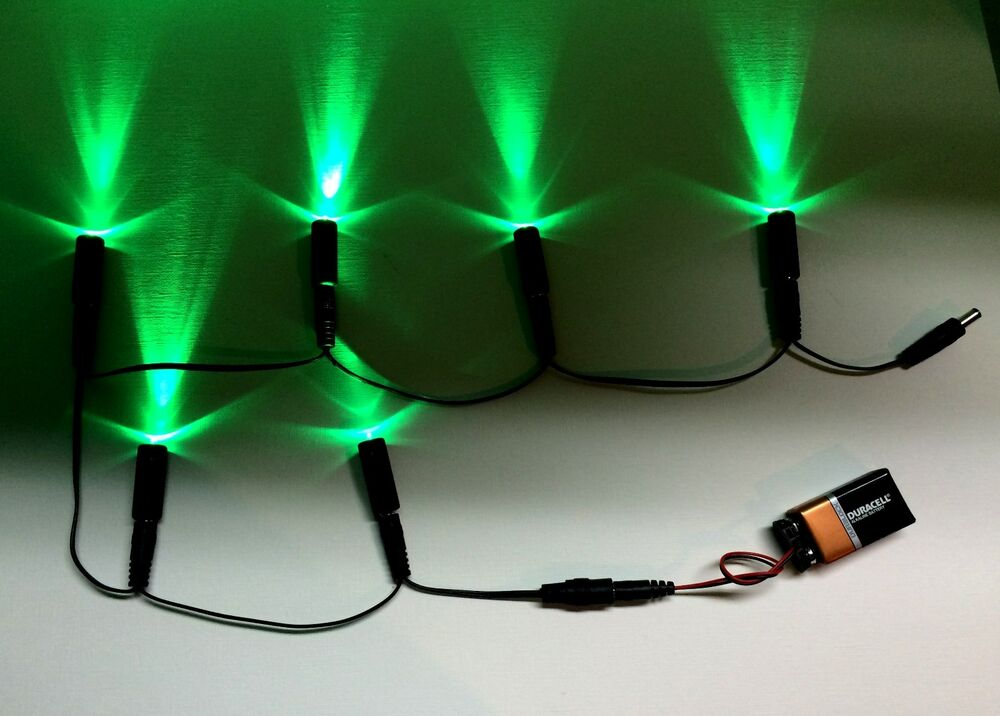 6 led light daisy chain 6 green w 9 volt battery clip. Black Bedroom Furniture Sets. Home Design Ideas