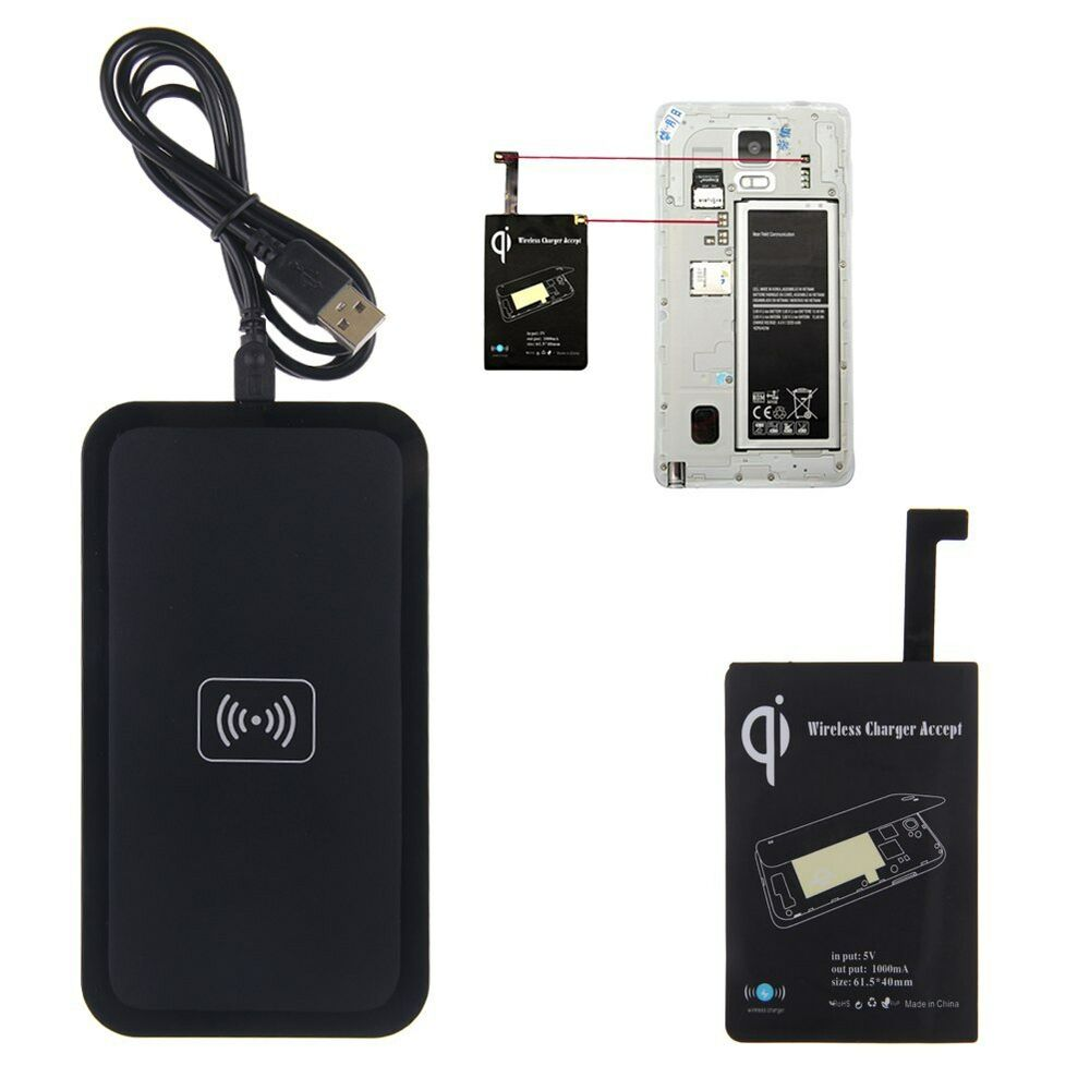 qi wireless charger charging pad receiver kit for samsung galaxy note 4 n910 ebay. Black Bedroom Furniture Sets. Home Design Ideas