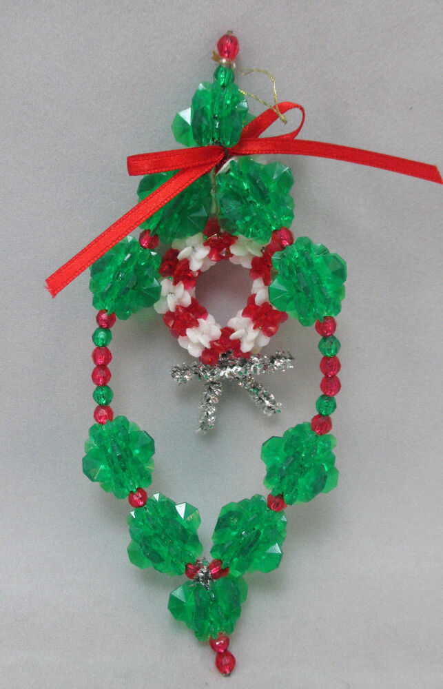 vintage handmade beaded wreath ornament with