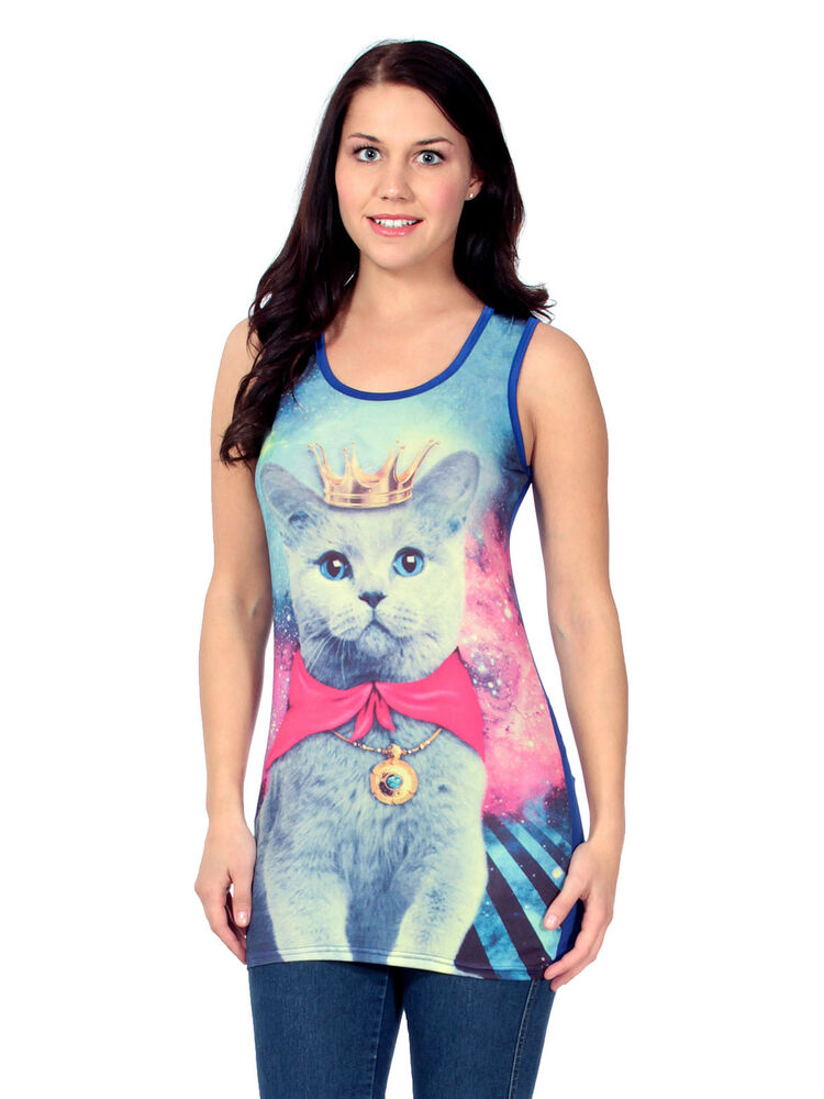 Summer Womens Sleeveless Cat Pattern Printed T Shirt Tee