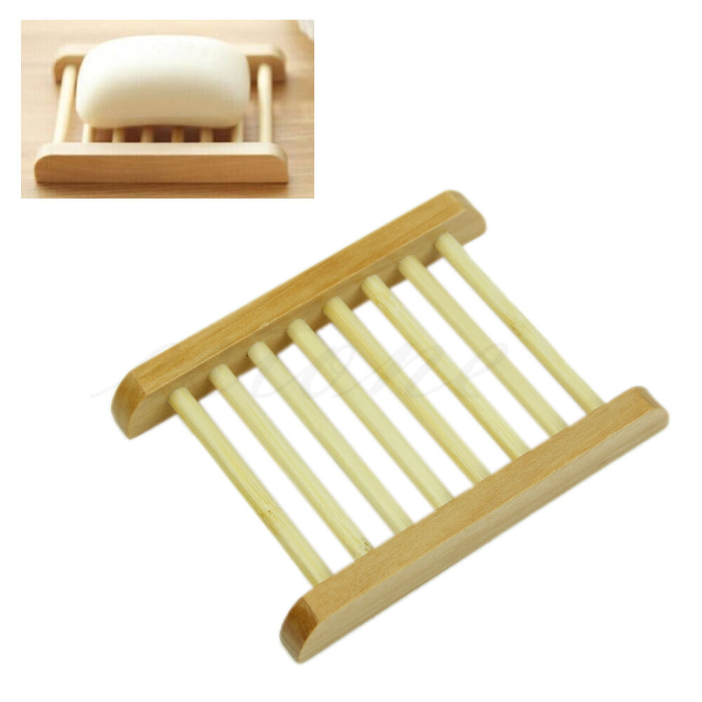 Natural wood soap tray holder dish storage bath shower for Bathroom tray