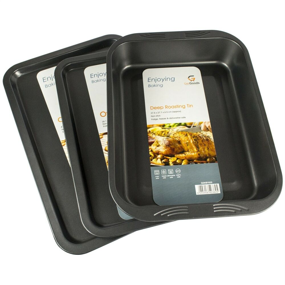 3 Piece New Large Non Stick Oven Baking Roasting Pan Dish