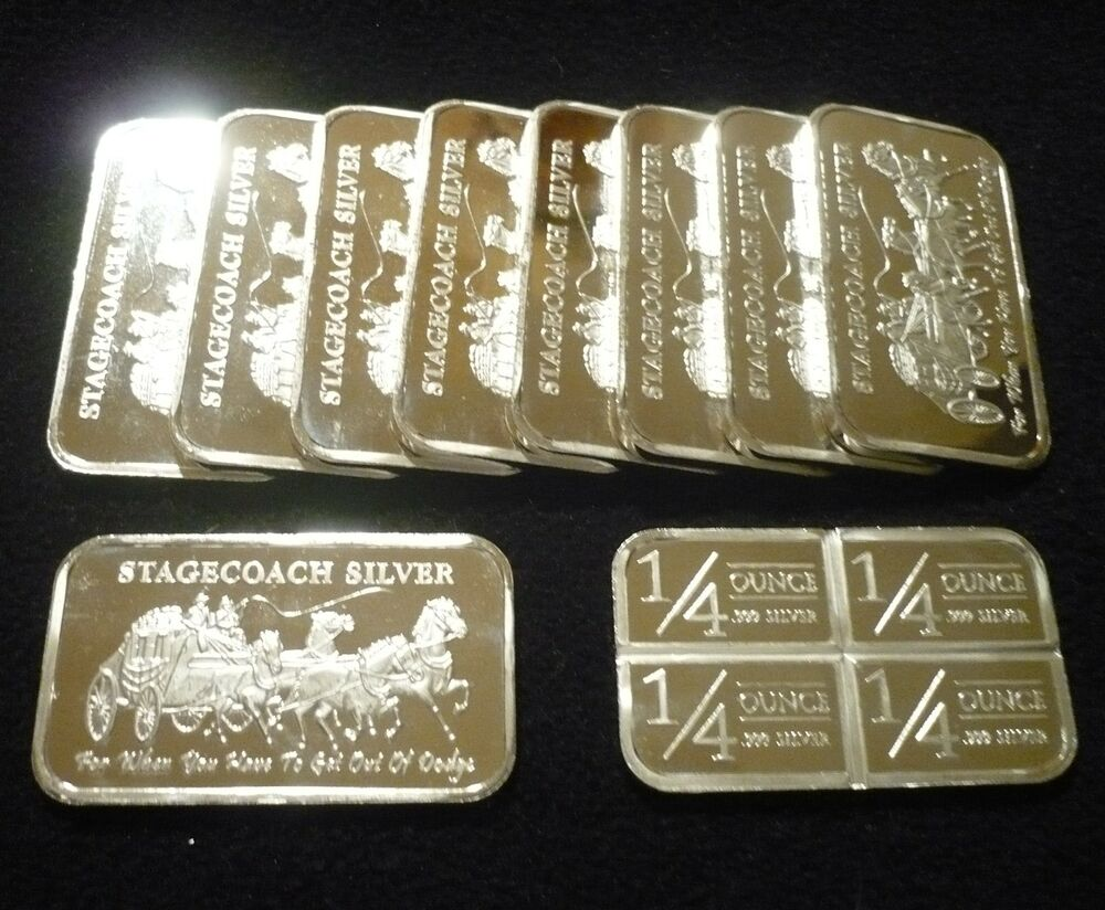 10 1 Troy Oz Stagecoach Silver Bars Nwt Mint 999 Fine