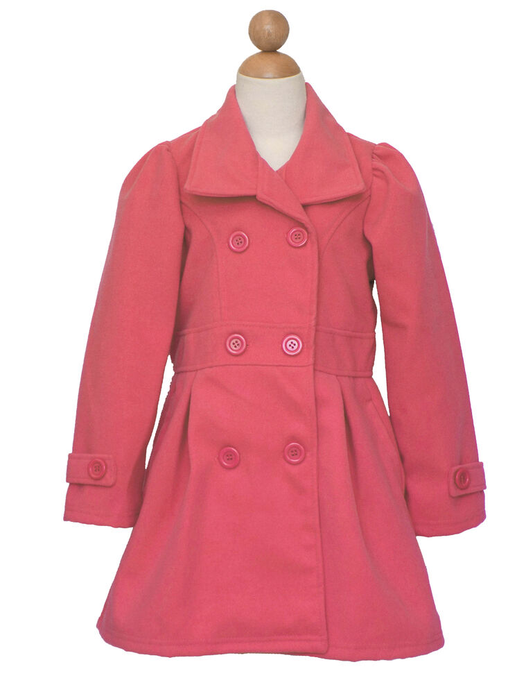 Coat is red polyester with circled pattern. 3 black buttons down the front breast of coat. 2 black buttons on bodice coat. Pretty red laced collar. Arms are full length.