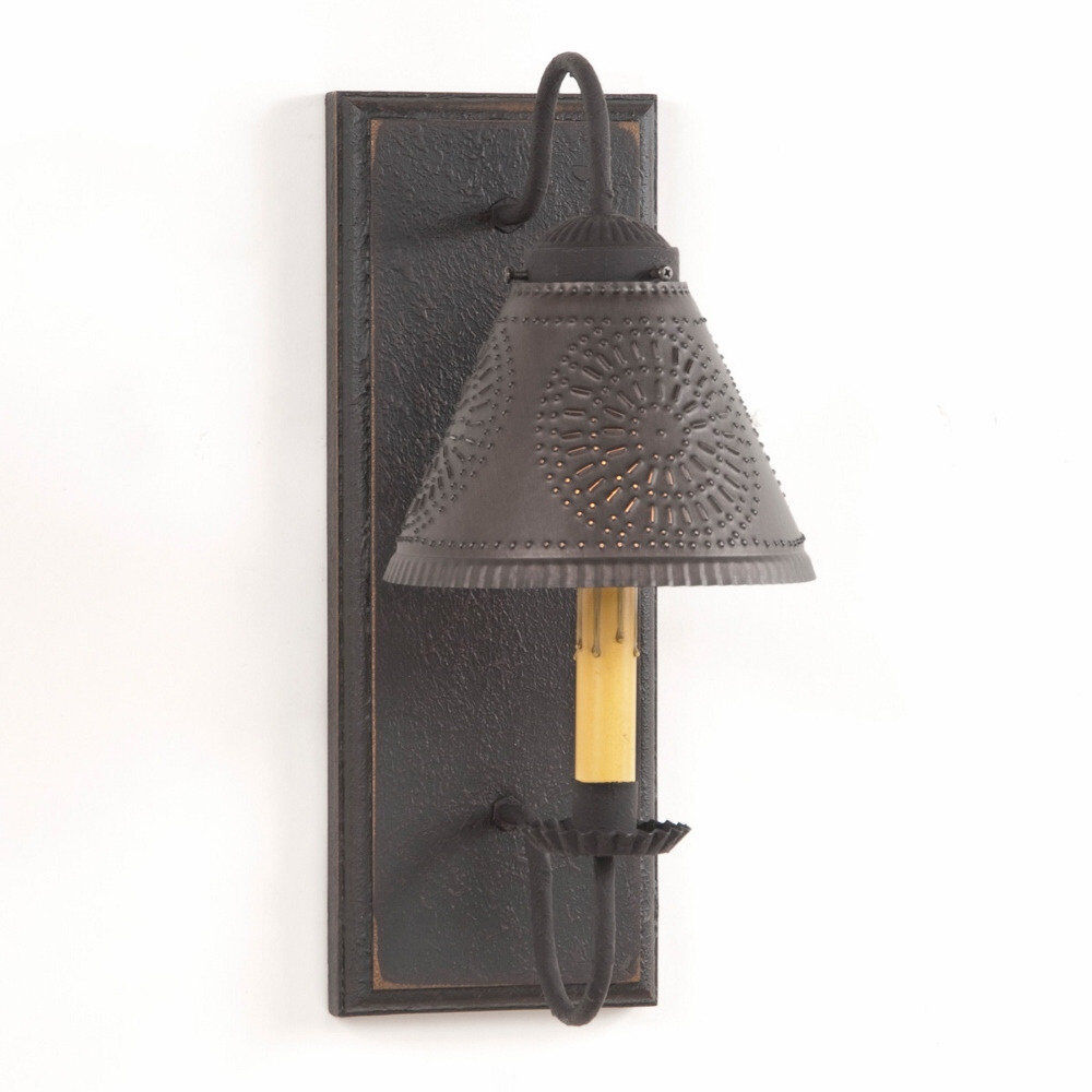 Lamp Shades Wall Lamps : WALL SCONCE Primitive WOOD & METAL with PUNCHED TIN Lamp Shade Rustic Light NICE eBay