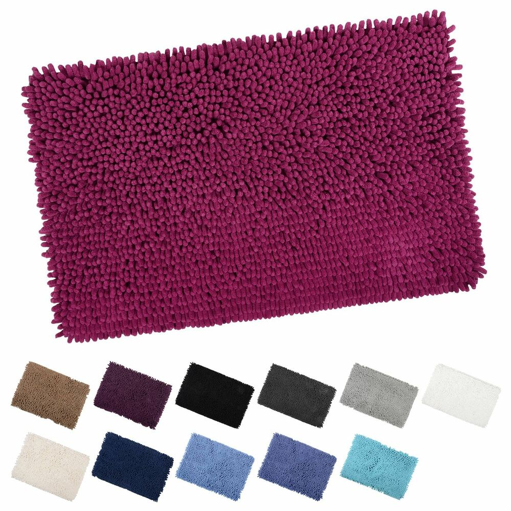 Shaggy Microfibre Bathroom Shower Bath Mat Rug Non Slip