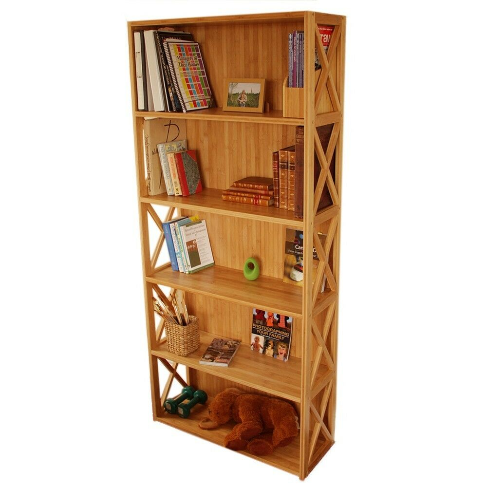 Tall large office home bookcase bamboo solid wood ebay