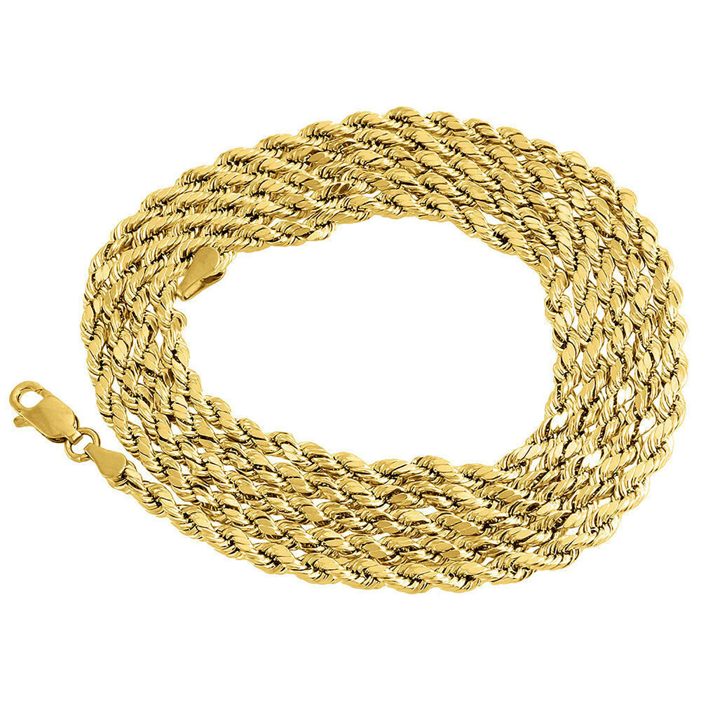 10k Yellow Gold Mens Ladies D C Hollow Rope Chain Necklace