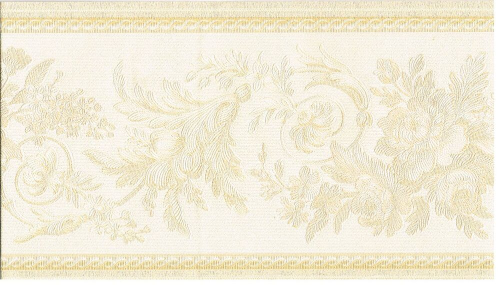 Decorative Wall Paper Trim : Architectural leaves and roses scroll trim wall paper