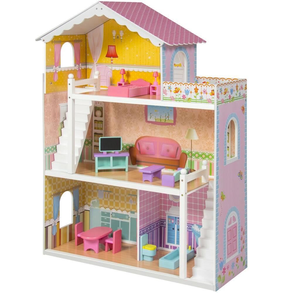 Large Children 39 S Wooden Dollhouse Fits Barbie Doll House Pink With Furniture Ebay