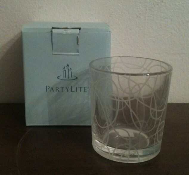 PartyLite Circles Clear Glass Modern Geometric Votive