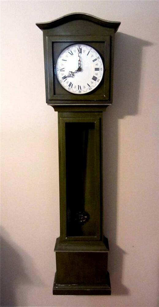 54 grandfather mother roman numeral green wall hanging clock 1969 alexanders ebay - Wall hanging grandfather clock ...