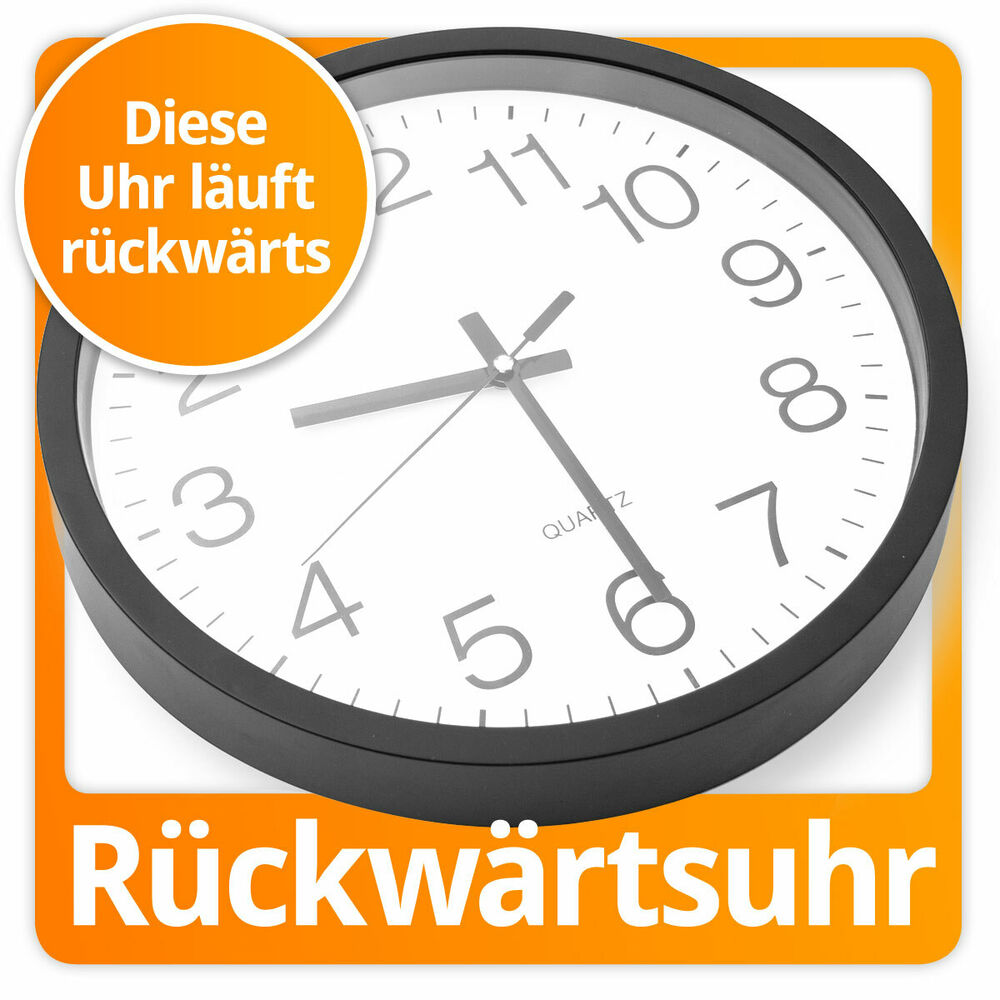 r ckw rts laufende uhr r ckw rtslaufende wanduhr r ckw rtsuhr xxl 30cm ebay. Black Bedroom Furniture Sets. Home Design Ideas