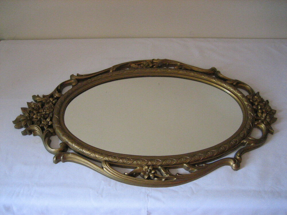 Vintage 28 hollywood regency style baroque syroco gold for Baroque oval mirror