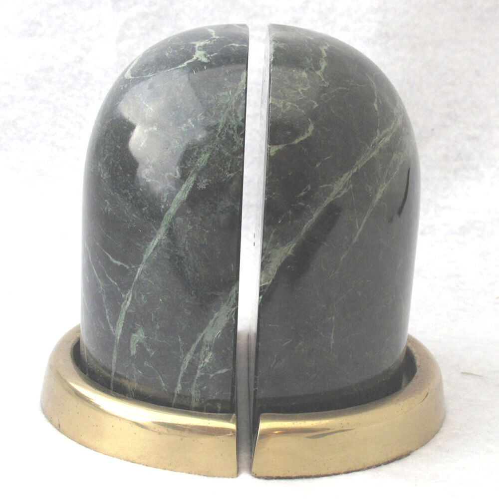 Vintage green marble and brass bookends handcrafted from for Decorative crafts inc brass