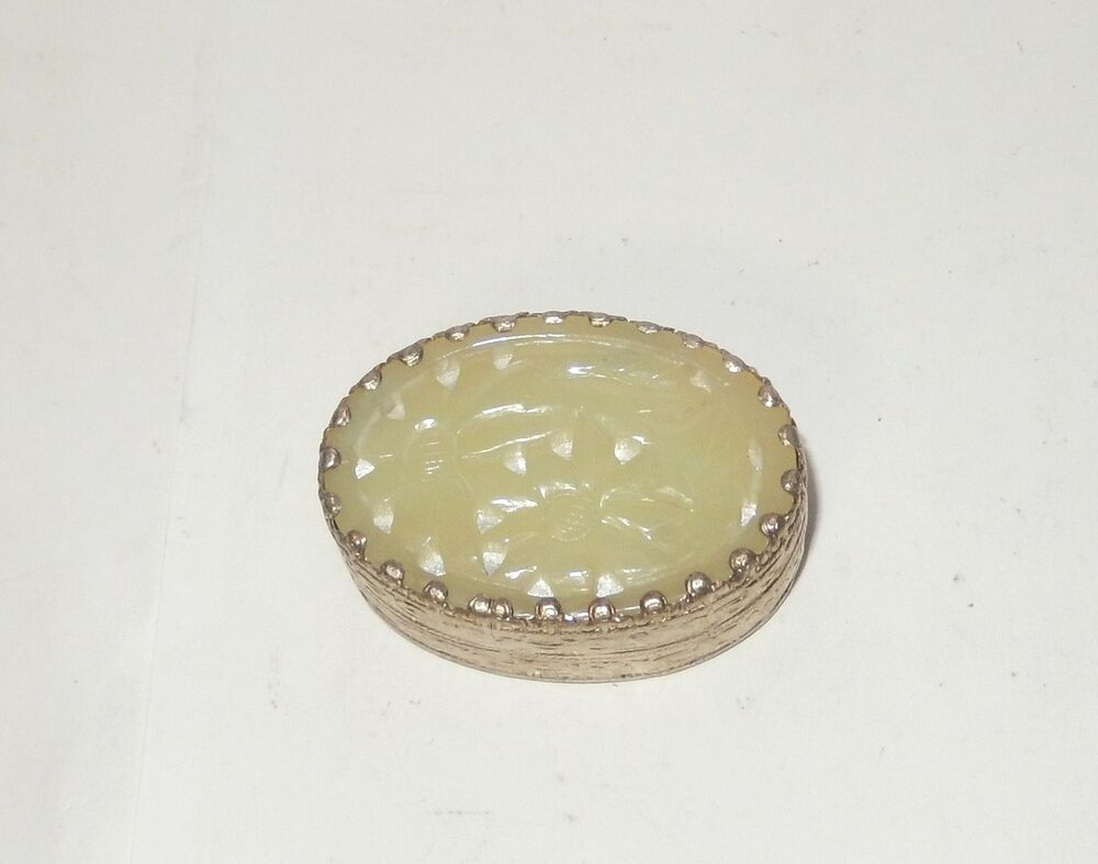 Chinese Carved White Jade Silver Plated Metal Trinket Pill