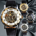 NEW WINNER Men's Automatic Mechanical Wrist Watch Vintage Skeleton Dial Leather
