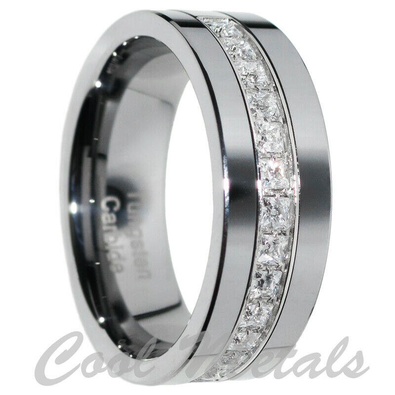 mens tungsten wedding ring 8mm tungsten carbide princess cz men women wedding 5804
