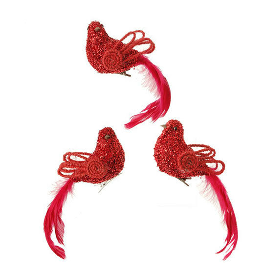 raz 6 clip on red feathered bird christmas ornament set 3 tree wreath cardinal ebay. Black Bedroom Furniture Sets. Home Design Ideas