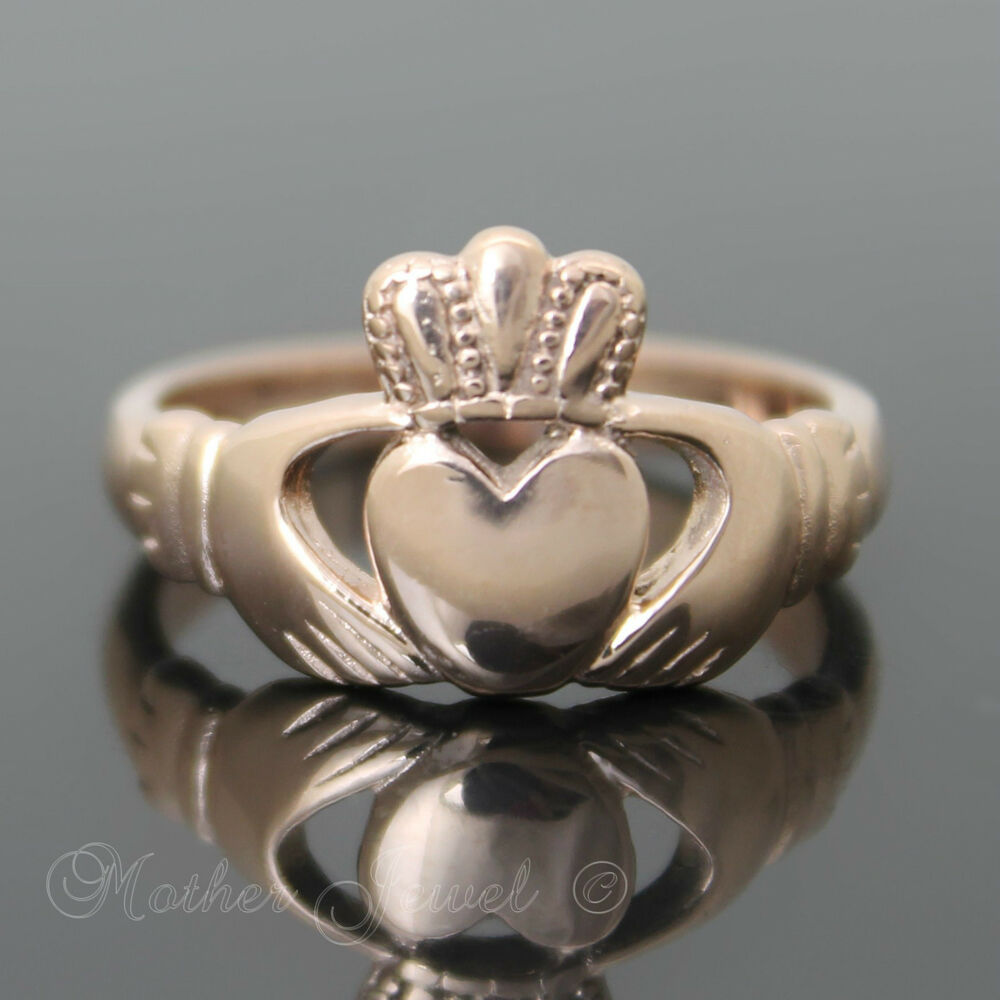 ROSE GOLD PLATED CLADDAGH ENGAGEMENT WEDDING MENS WOMENS RING EBay