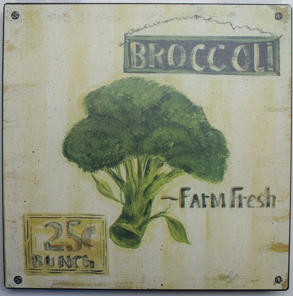 Home Kitchen Broccoli Farm Fresh Shop Antique Decor Wall Art EBay