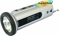 Travel Alarm Snooze LCD Torch FM Radio Clock SILVER