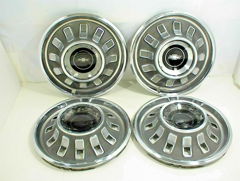 Old Chevy Wheel Grease Caps : Vintage oem chevrolet impala hubcaps wheel covers
