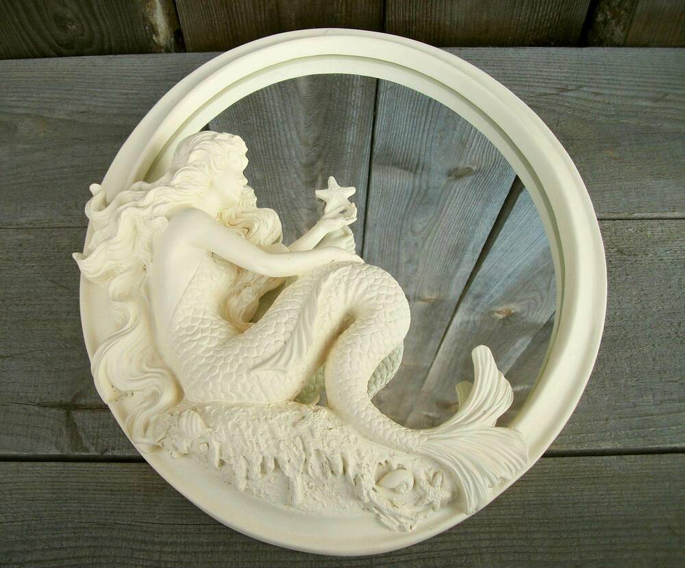 Antique white flowing hair mermaid wall mirror nautical for Mermaid bathroom decor vintage