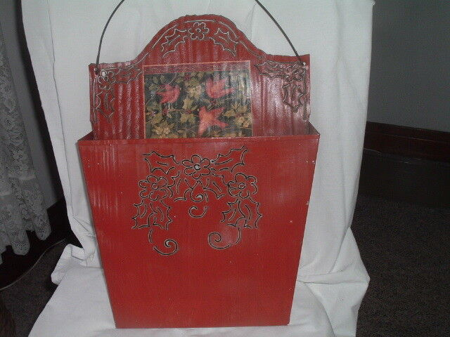 Vintage Red Enamal Tin Wall Hanging Letter And Mail Holder