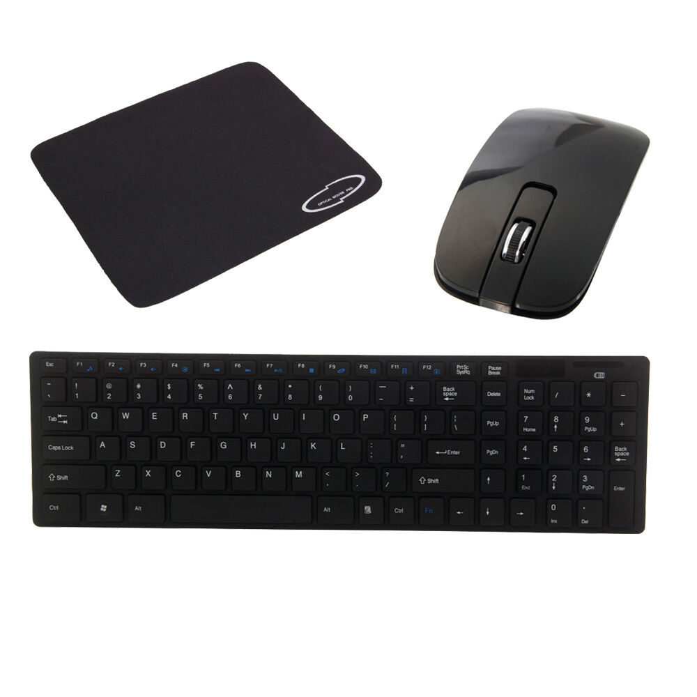 new 2 4g multimedia wireless mouse and keyboard set mouse pad black ebay. Black Bedroom Furniture Sets. Home Design Ideas