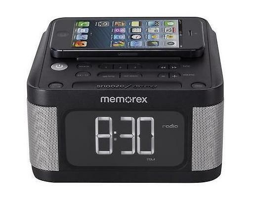memorex fm radio stereo alarm clock aux mc8431 2 usb charging iphone 5 6 android ebay. Black Bedroom Furniture Sets. Home Design Ideas