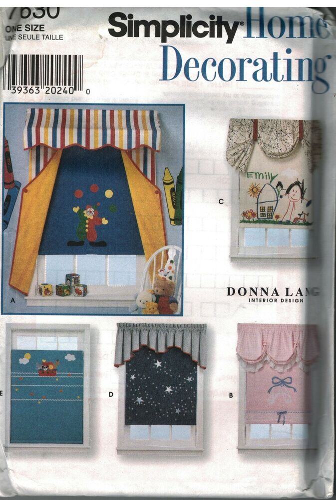7630 Uncut Simplicity Sewing Pattern Home Decor Window Treatments Valances Shade Ebay