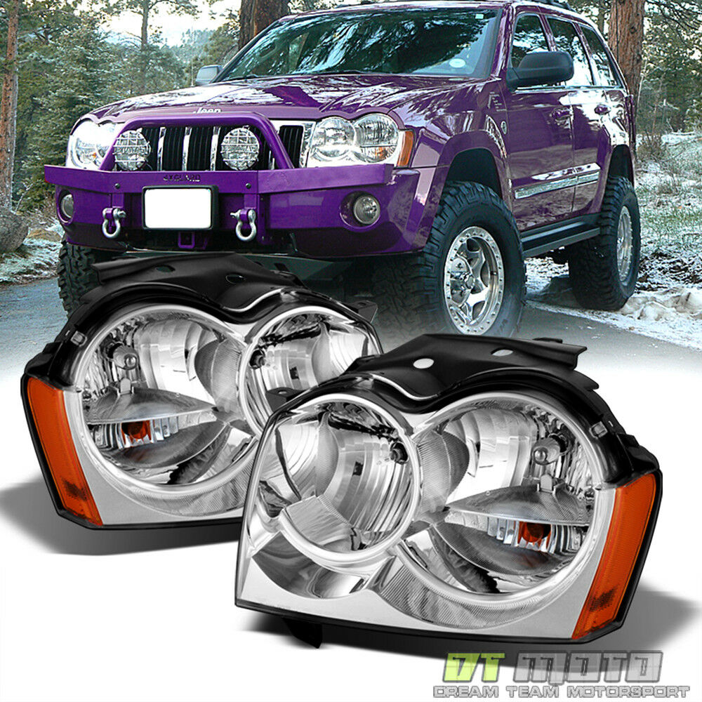 2005 2007 jeep grand cherokee replacement headlights headlamps pair left right ebay. Black Bedroom Furniture Sets. Home Design Ideas