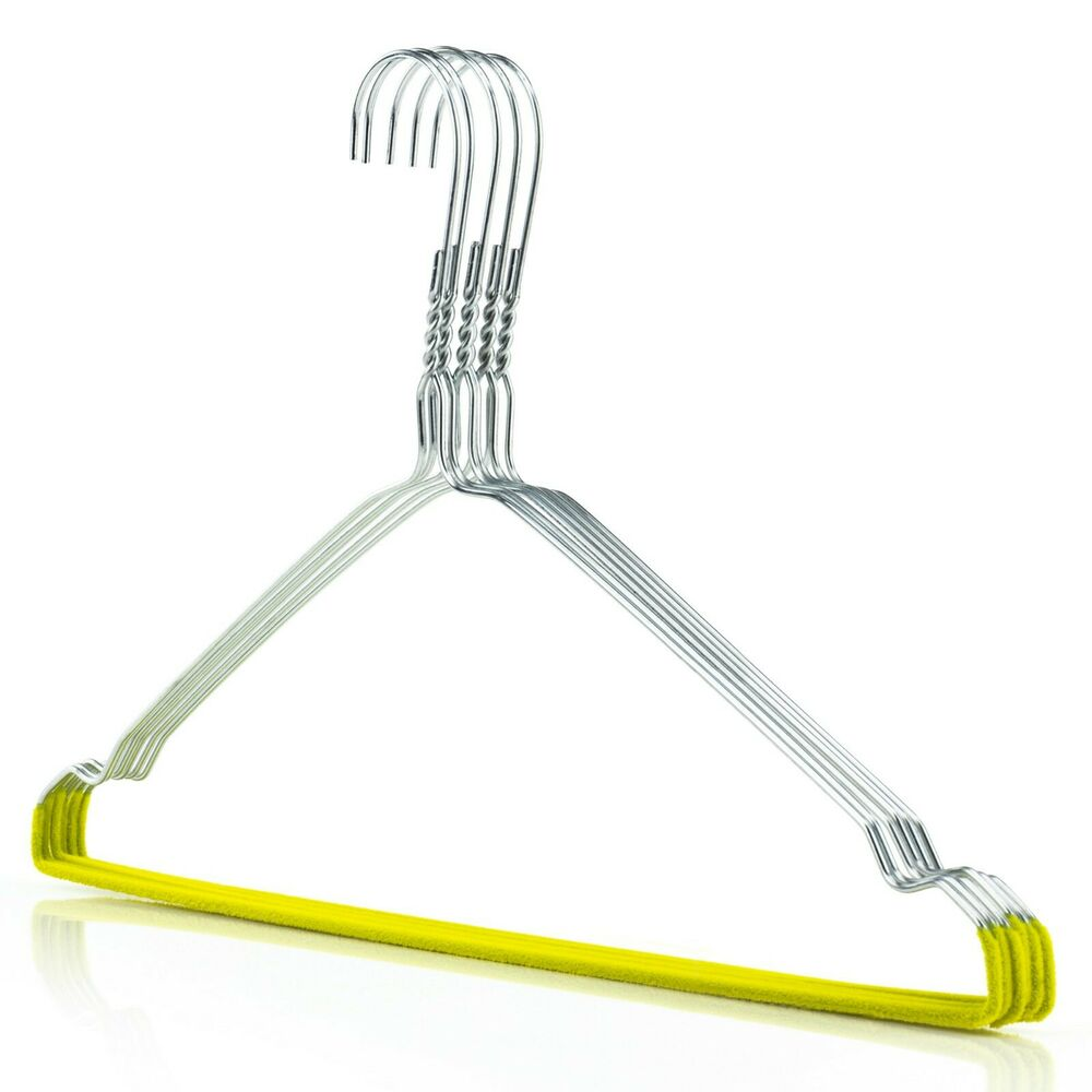 Silver Metal Wire Notched Hangers Coat Clothes Yellow Pant