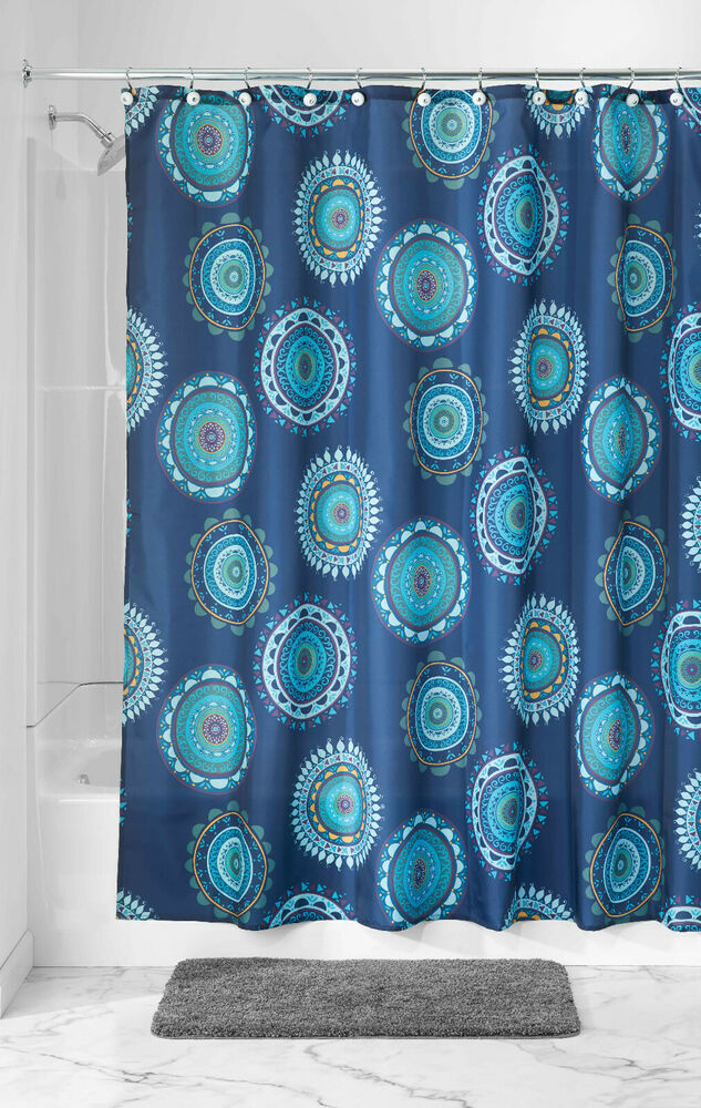 Luxury Fabric Shower Curtain Printed Striped Green Amp Blue