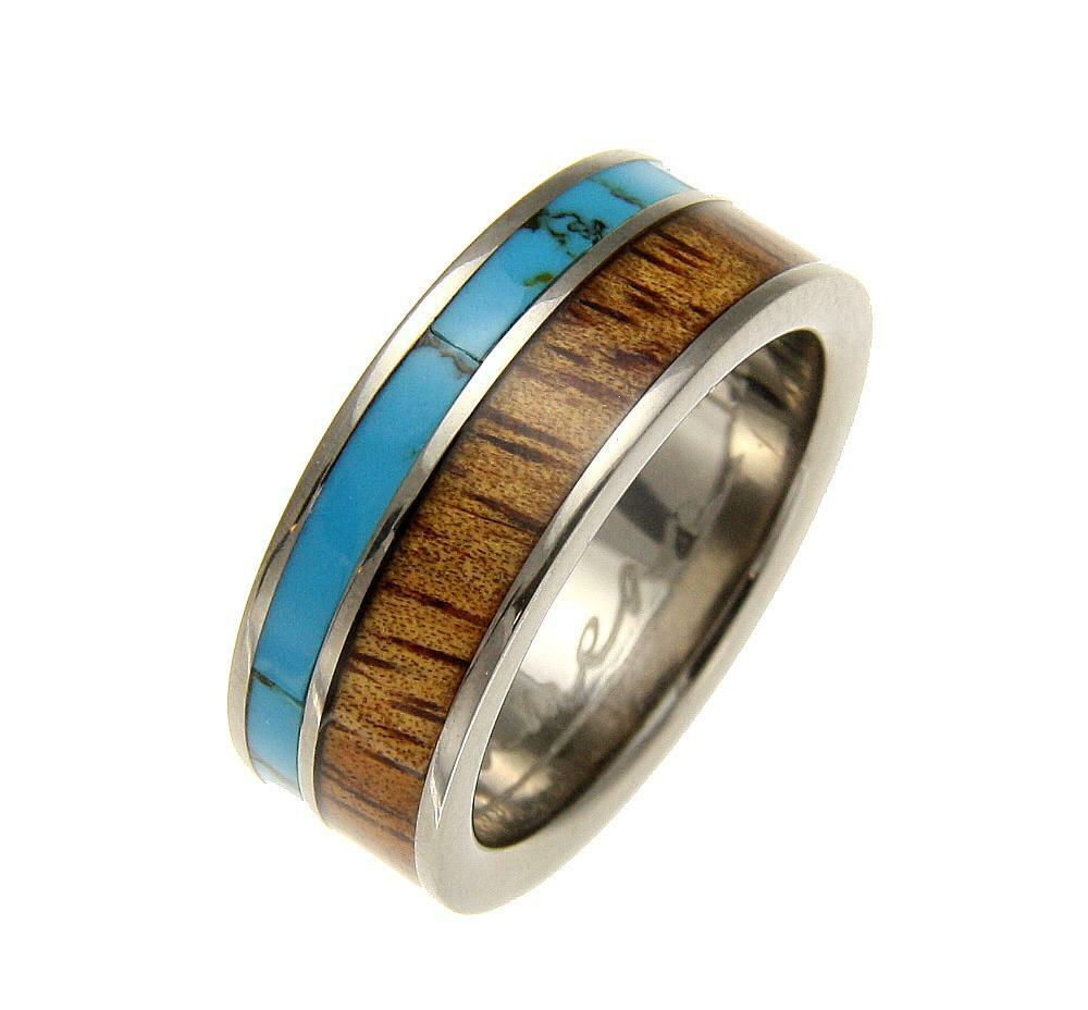 GENUINE INLAY HAWAIIAN KOA WOOD TURQUOISE WEDDING BAND RING TITANIUM 8MM SZ 8