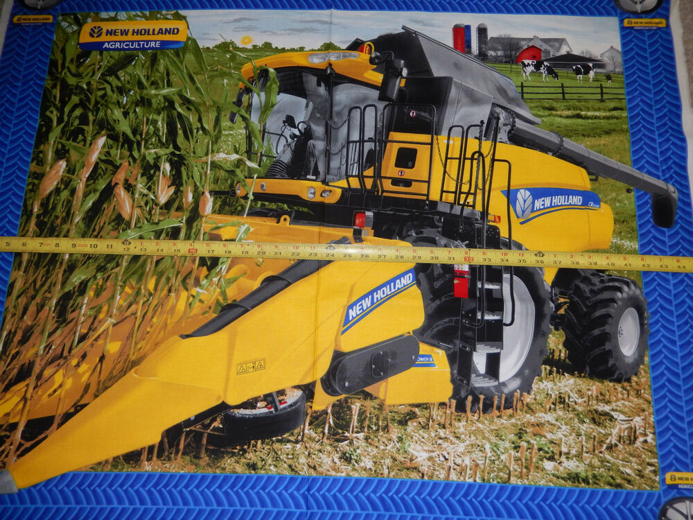 New Holland Tractor Fabric : New holland combine harvest farm cows wall lap panel