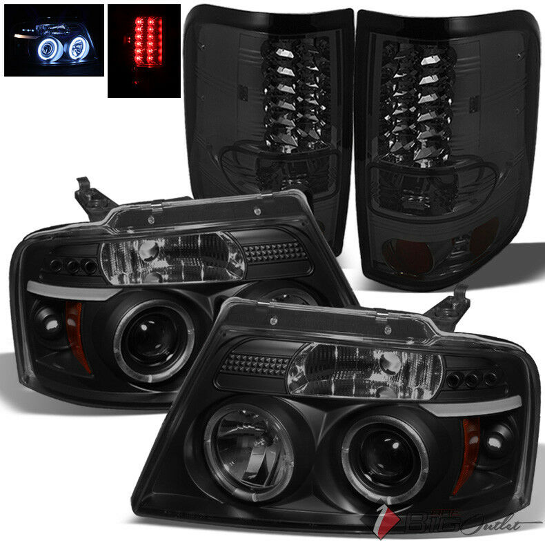 For 04 08 F150 Black Smoked Halo Projector Headlights