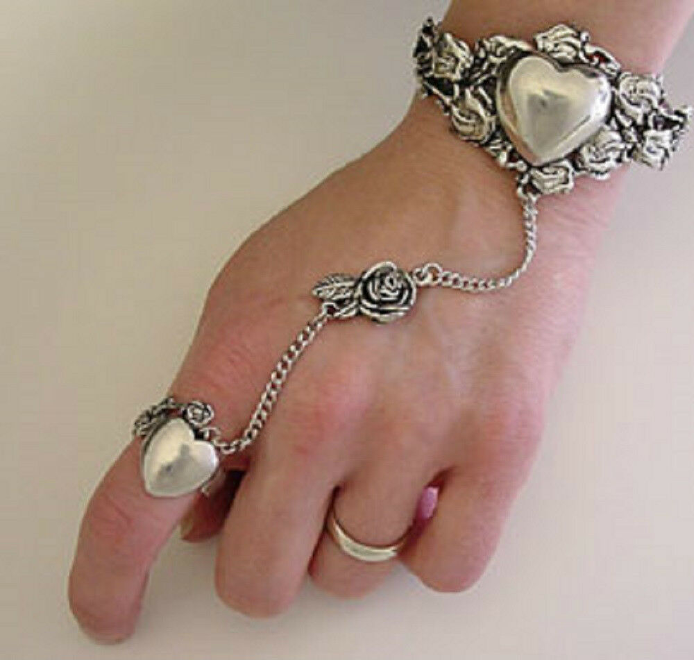Heart and Rose Slave Bracelet & Ring Lead Free Pewter ...