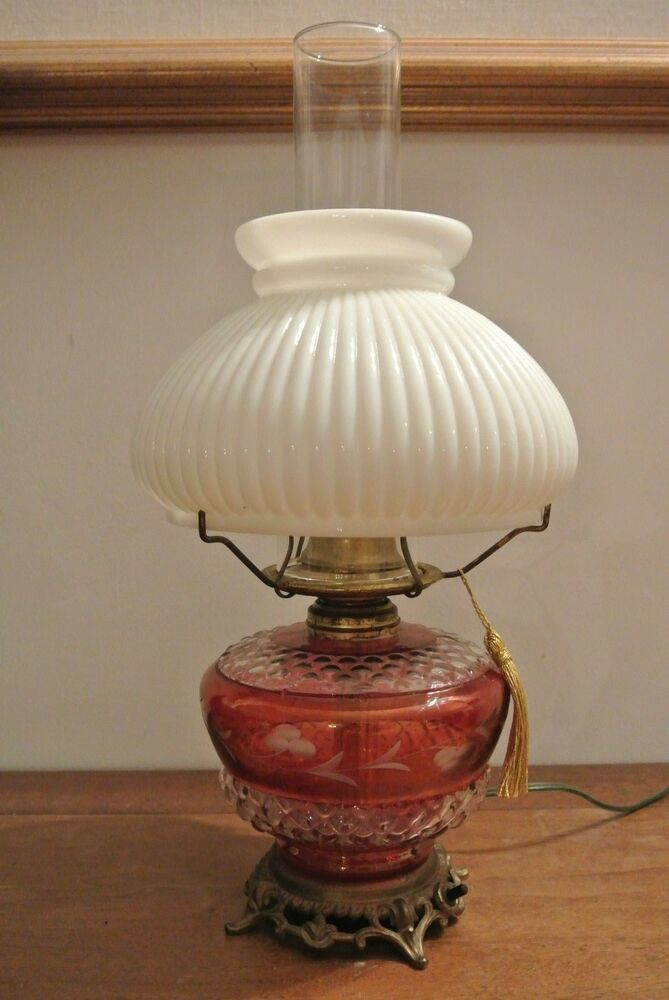 11+ [ Eagle Oil Lamp History ] | Cranberry Etch Table Lamp With ...