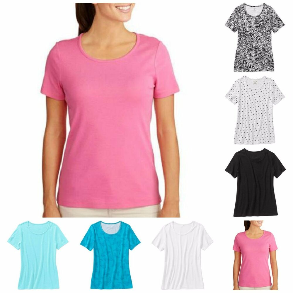 White stag womens short sleeve scoop neck tee t shirt 100 for Short sleeve t shirts with longer sleeves