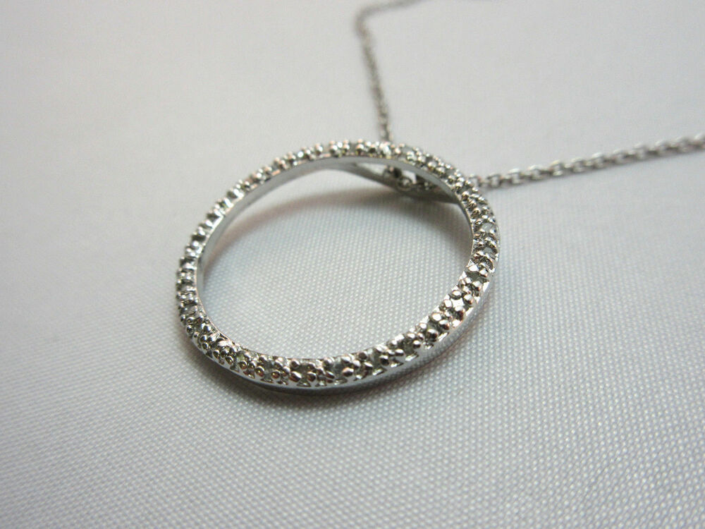 sterling silver circle pendant necklace marked cw