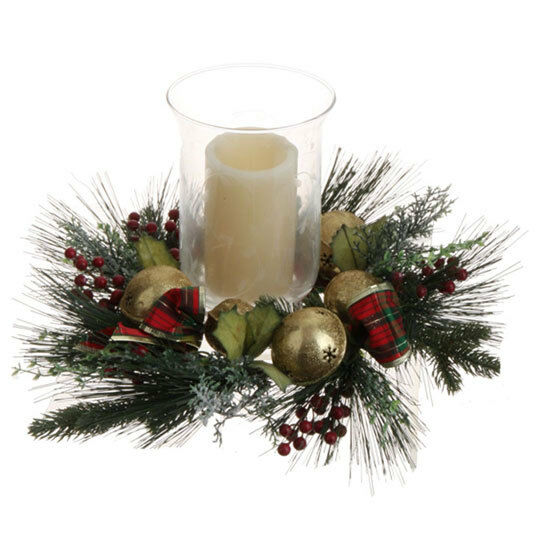 Raz christmas fall assorted candle ring glass hurricane flameless