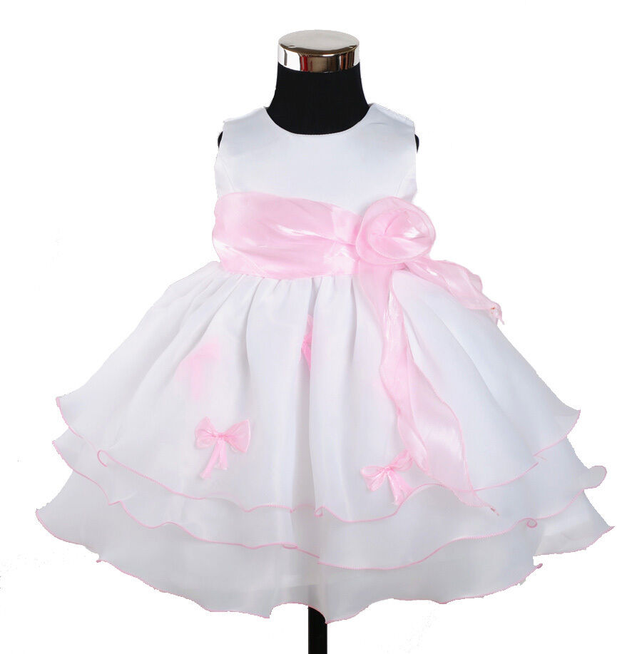 new baby girls white and pink bows party pageant dress 9