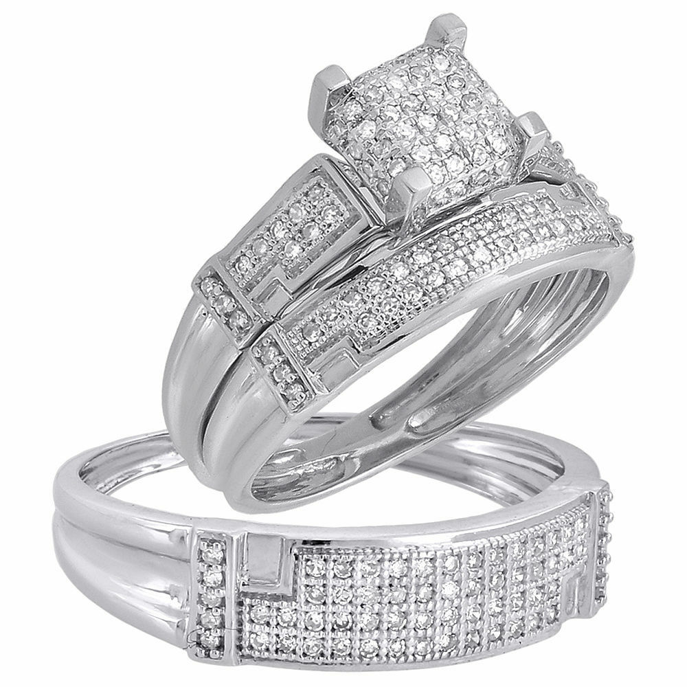 white gold wedding rings sets for him and her trio set his matching engagement wedding ring 1341