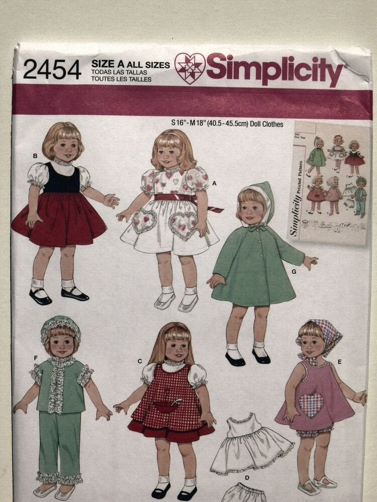 Simplicity Pattern 2454 Vintage Style Doll Clothes for 16 ...