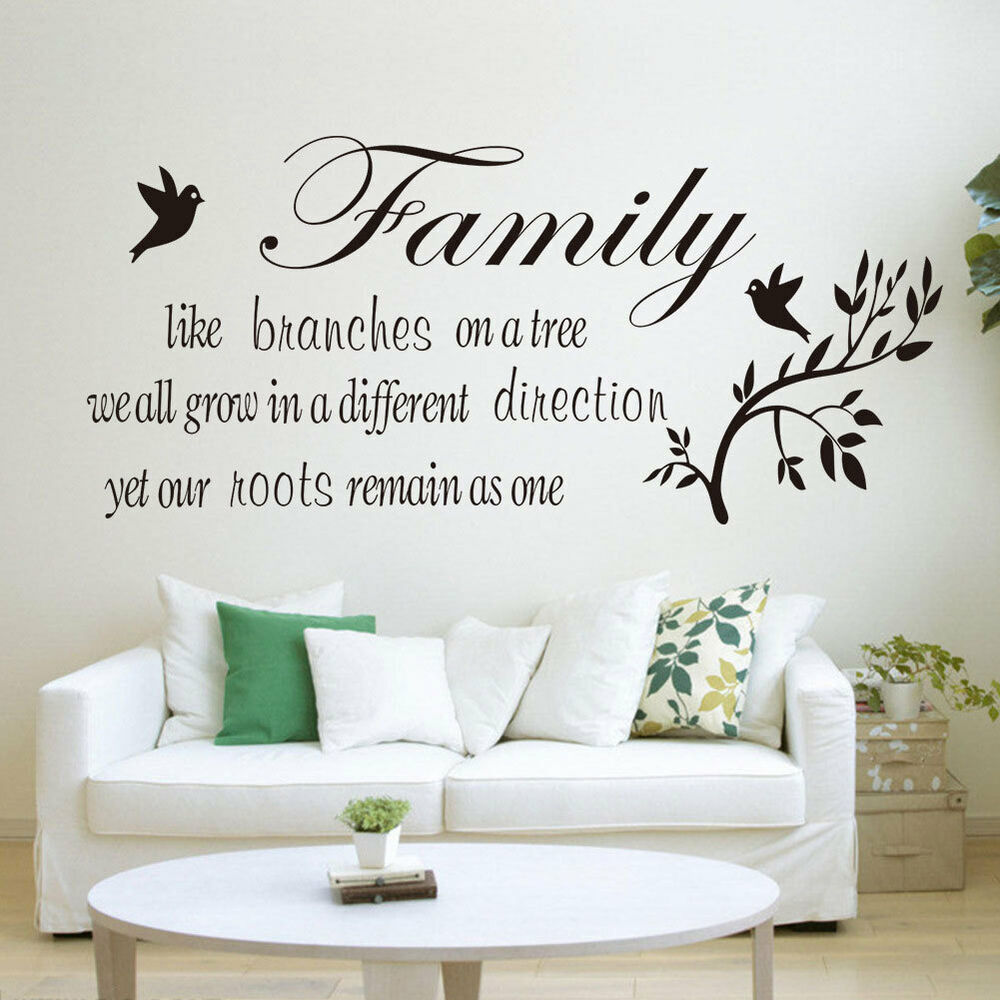 Family tree vinyl bedroom living room wall quote stickers for Living room quote stickers